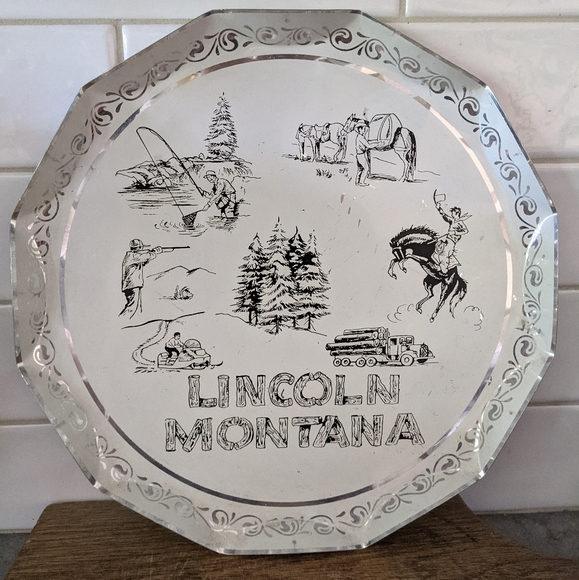 Vintage Lincoln, Montana aluminium round platter